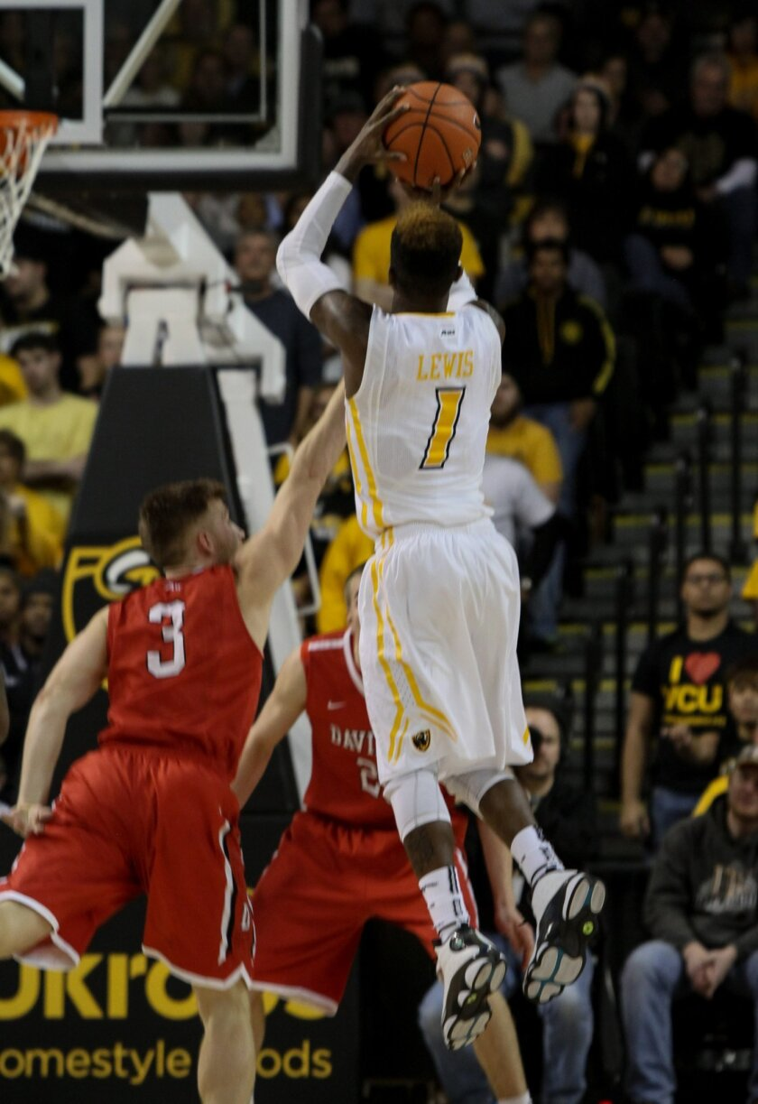 VCU's JeQuan Lewis (1) shoots during the second half of an NCAA college basketball game in Richmond, Va., Wednesday, Jan. 7, 2015. (AP Photo/Skip Rowland) (AP Photo/Skip Rowland)