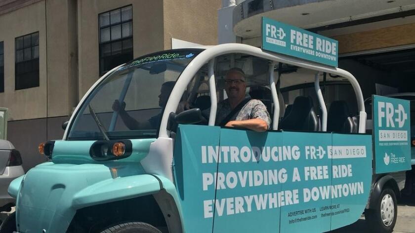 "The San Diego Free Ride's ""FRED"" shuttle service features five-passenger, all-electric vehicles. (Civic San Diego)"