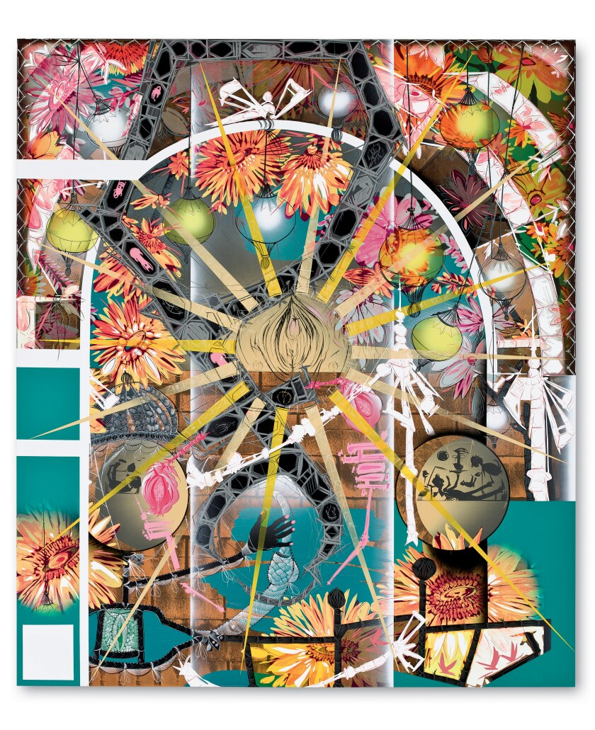 Lari Pittman, Untitled #5, 2010. Acrylic, Cel-Vinyl and spray paint on gessoed canvas over wood, 102 inches by 88 inches.