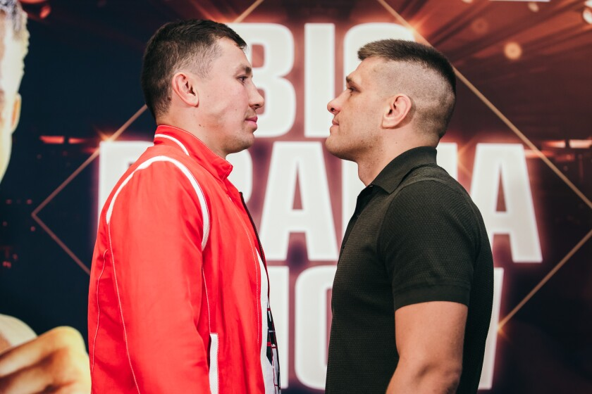 Gennady Golovkin, left, will face Sergiy Derevyanchenko for the vacant IBF 160-pound title Saturday at Madison Square Garden in New York.