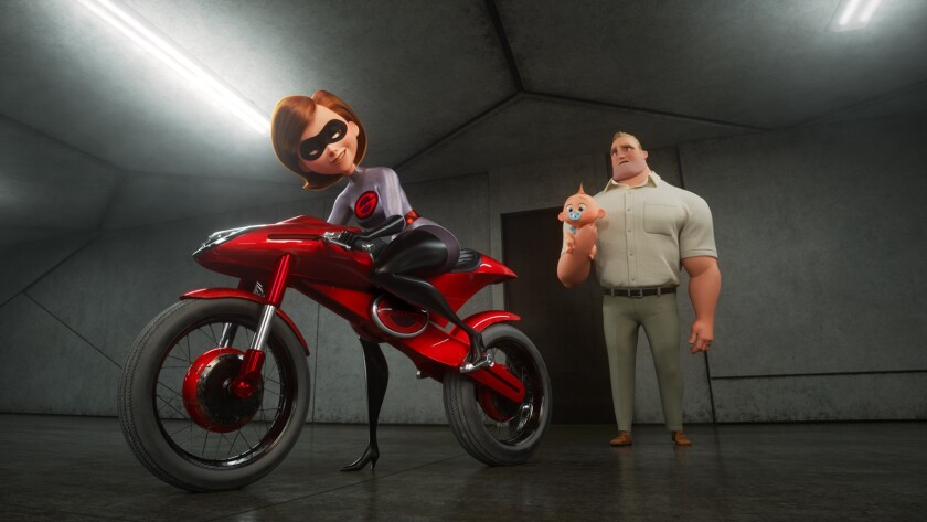 """Elastigirl and Mr. Incredible in the animated sequel """"Incredibles 2."""""""