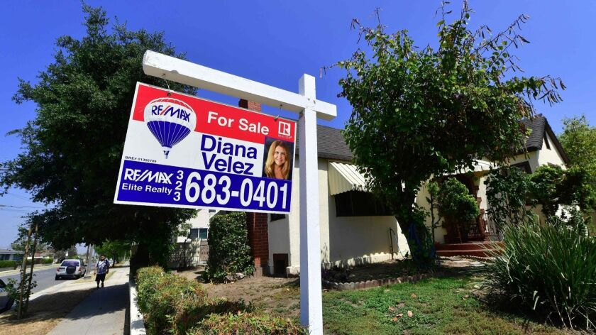 A home for sale this summer in Alhambra. Last month's median home price in Southern California clocked in at $530,000; in Los Angeles County, it was $607,500.