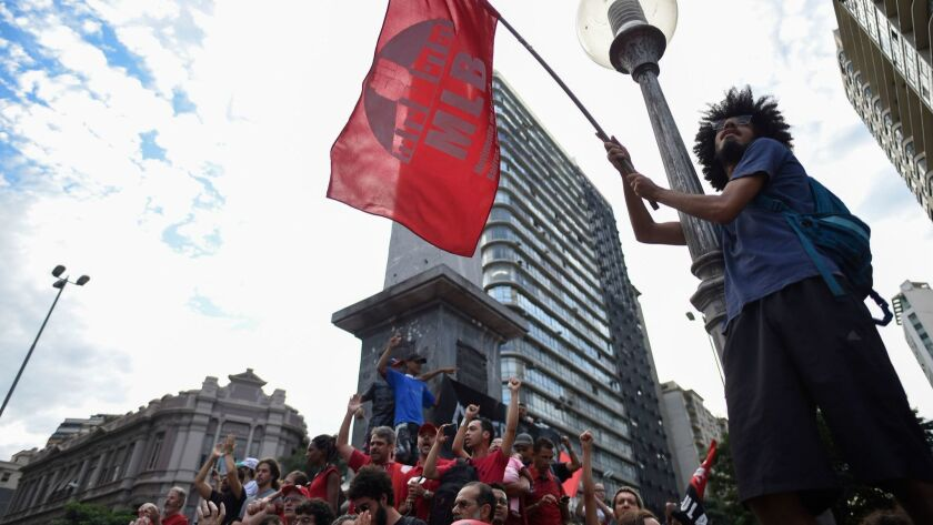 Demonstrators rally in support of former Brazilian President Luiz Inacio Lula da Silva in September Seven square in Belo Horizonte, Brazil.