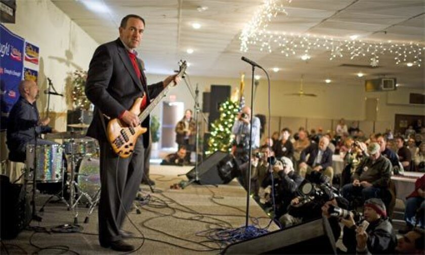 A FEW OF THE RIGHT TUNES: Though a purist on social issues, Mike Huckabee has angered economic conservatives because he raised taxes while he was governor of Arkansas.