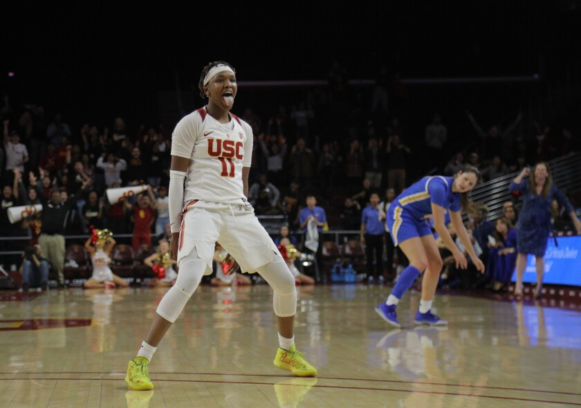 LOS ANGELES, CA - JANUARY 17, 2020: USC Trojans guard Aliyah Jeune (11) reacts after she scored to give USC the lead over UCLA with 19 seconds left in overtime at Galen Center on January 17, 2020 in Los Angeles, California. (Gina Ferazzi/Los AngelesTimes)