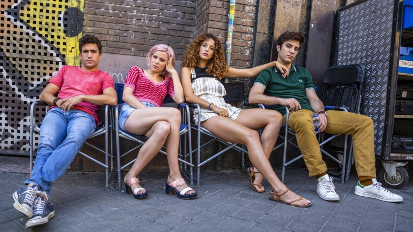"""(L-R) - Jaime Lorente, Andrea Ros, Maria Pedraza and Pol Monen in a scene from """"Who Would Your Take"""