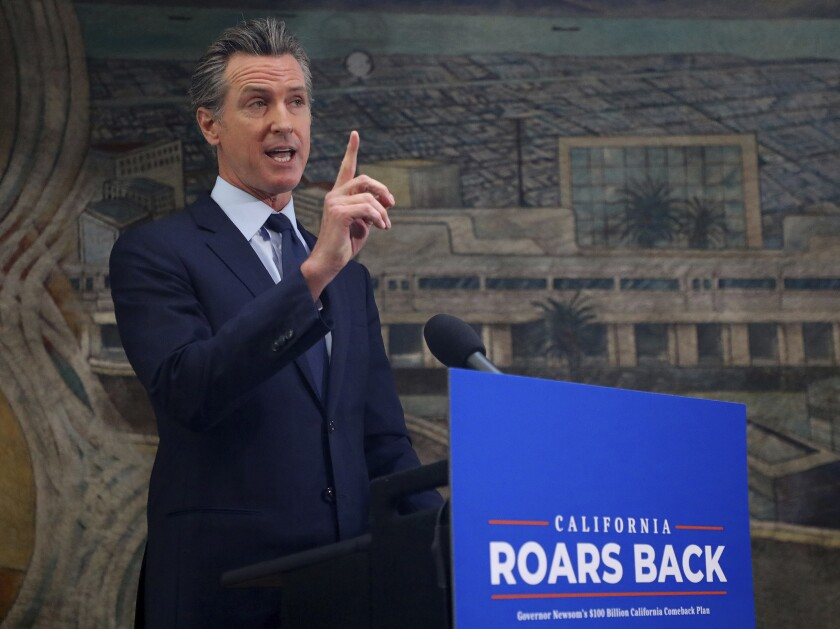California Gov. Gavin Newsom speaks at a news conference in Oakland on May 1.