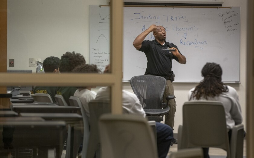 Probation officer William Agborsangaya conducts a leadership program at the Sacramento County Youth Detention Facility in Sacramento.