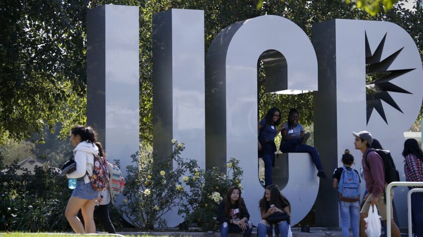 RIVERSIDE CA. OCTOBER 18, 2016: Visiting kids and students walk around the campus at UC Riverside on