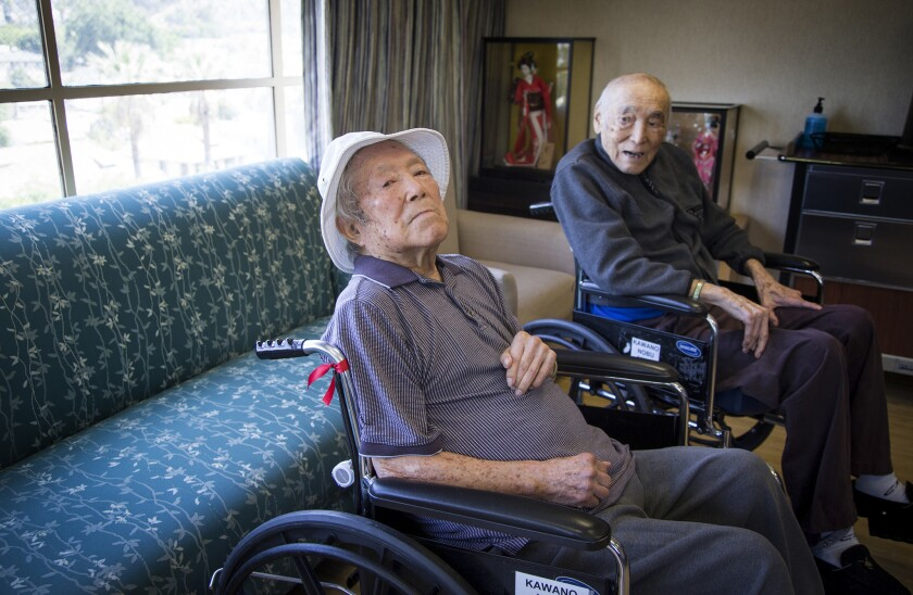 The Kawano brothers -- Yosh, 94, left, and Nobe, 93 -- were longtime clubhouse managers for the Cubs and Dodgers, respectively, and now live in the same retirement home in Los Angeles.