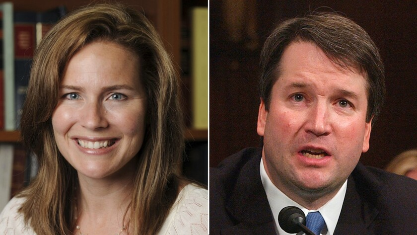 Judges Amy Barrett and Brett Kavanaugh are considered potential Supreme Court nominees.