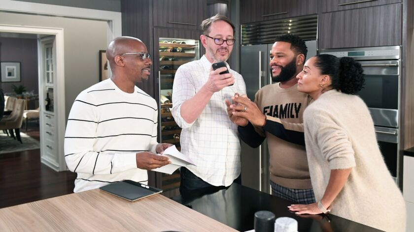 BURBANK, CALIFORNIA OCTOBER 3, 2018-Black-ish new co-showrunners Kenny Smith, left, and Jonathan Gro