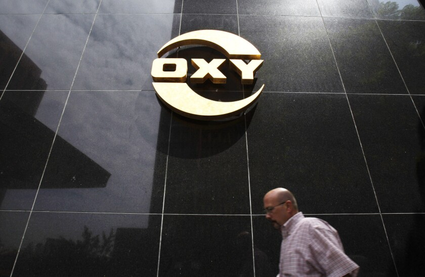 Occidental's stock has dropped about 60% this month amid collapsing oil prices.