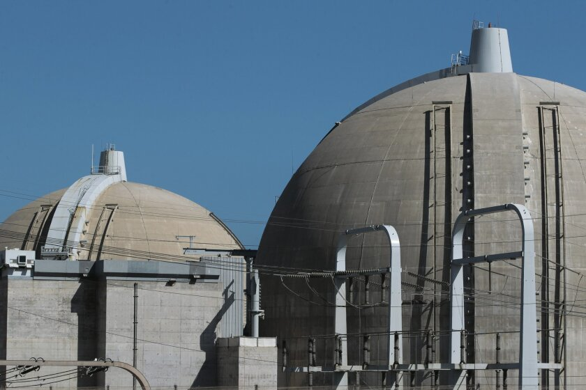 Unit 2, right, and Unit 3 reactor containment structures at the San Onofre Nuclear Generating Station.