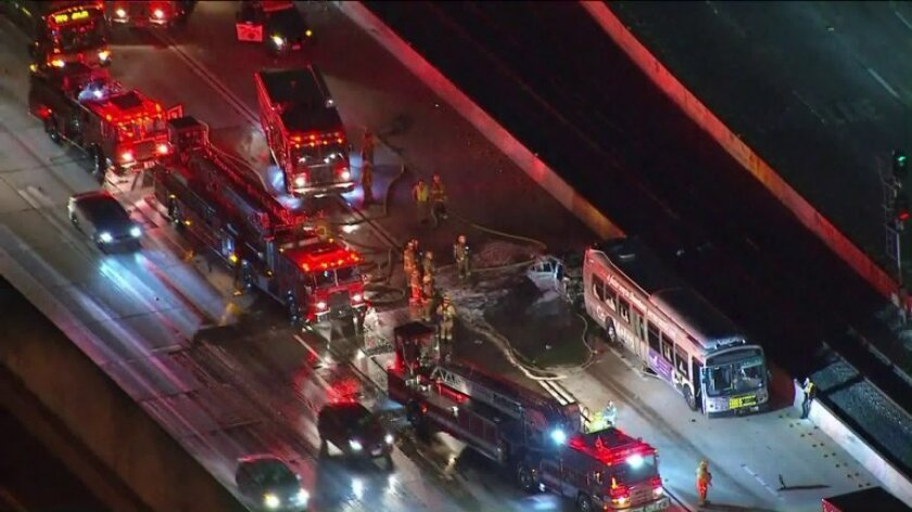 Driver is killed on 10 Freeway in fiery crash involving Metro bus