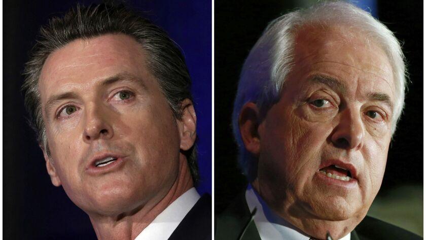 Democratic Lt. Gov. Gavin Newsom, left, and Republican businessman John Cox will face off Monday in a candidate forum in San Francisco.