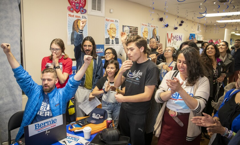 Sanders volunteers celebrate his projected California victory March 3 at campaign headquarters in Santa Ana.