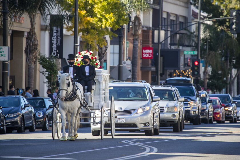 A horse-drawn carriage leads a funeral procession down Colorado Boulevard in Pasadena.