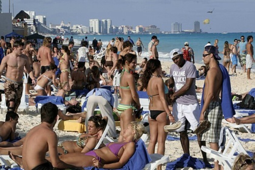 The Caribbean resort of Cancun is a mecca for spring-break vacationers. Unlike some other parts of Mexico, it hasn't figured in a State Department travel warning on drug violence.