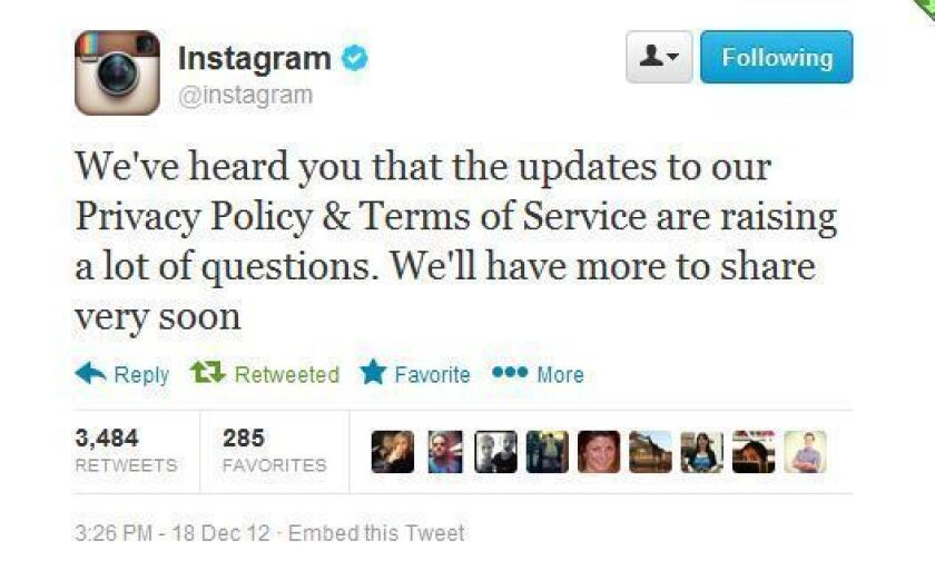 Instagram says it will respond to terms-of-service uproar 'very soon'