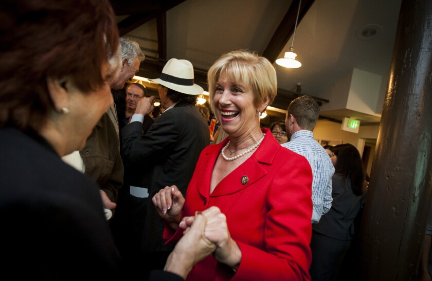 Congresswoman Janice Hahn greets a supporter during a 2012 election party at the Ports O'Call restaurant in San Pedro.