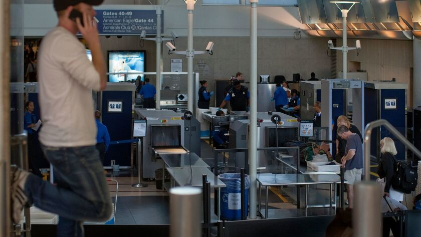 LOS ANGELES, CA - NOVEMBER 9, 2011: Lines were light for passengers going through security at Termi