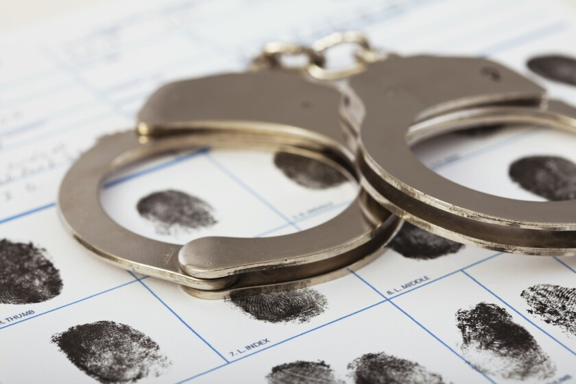 handcuffs and booking fingerprints clip art