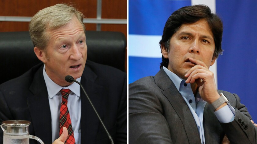 Billionaire activist Tom Steyer, left, is mulling a challenge to veteran Sen. Dianne Feinstein, while California state Senate leader Kevin de León announced his Senate run Sunday.