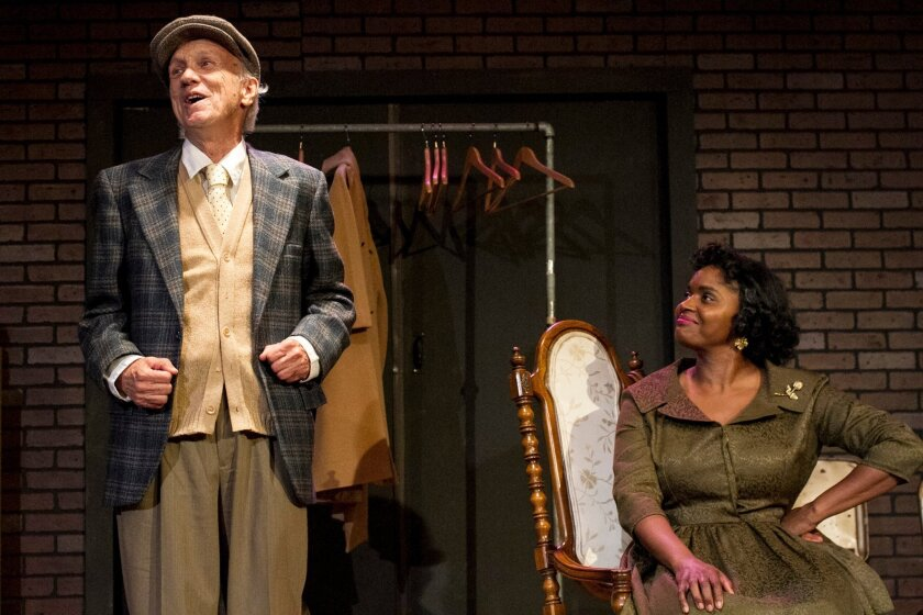 Tom Kilroy is the old Irish doorman and Monique Gaffney is the troubled actress in 'Trouble in Mind,' at Moxie Theatre to Feb. 22.