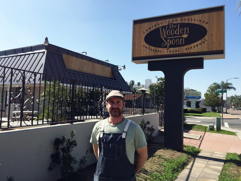 Chef/owner Jesse Paul outside his soon-to-open The Wooden Spoon restaurant at 805 E. Valley Parkway in Escondido.
