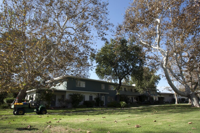 Trees surround homes at a Baldwin Hills condo, which is part of Village Green, a national historic landmark.