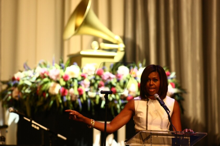 First Lady Michelle Obama gave the keynote speech at a Grammy Museum event to salute teachers who use music in innovative ways as part of their lessons at Club Nokia in Los Angeles.