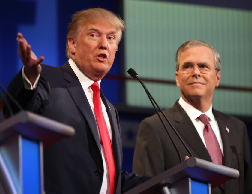 Republican presidential candidate Donald Trump and Jeb Bush during the first Republican presidential debate last month in Cleveland.