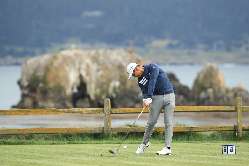 Xander Schauffele of the United States plays a shot from the 18th tee during the third round of the 2019 U.S. Open at Pebble Beach Golf Links on June 15, 2019 in Pebble Beach, California. (Photo by Andrew Redington/Getty Images)