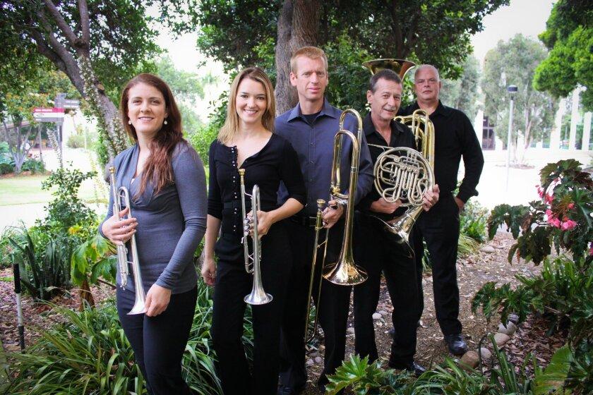 Rachel Allen, Elizabeth Meeker, John Lorge, Eric Starr, and Michael Wiley of Praxum Brass quintet.