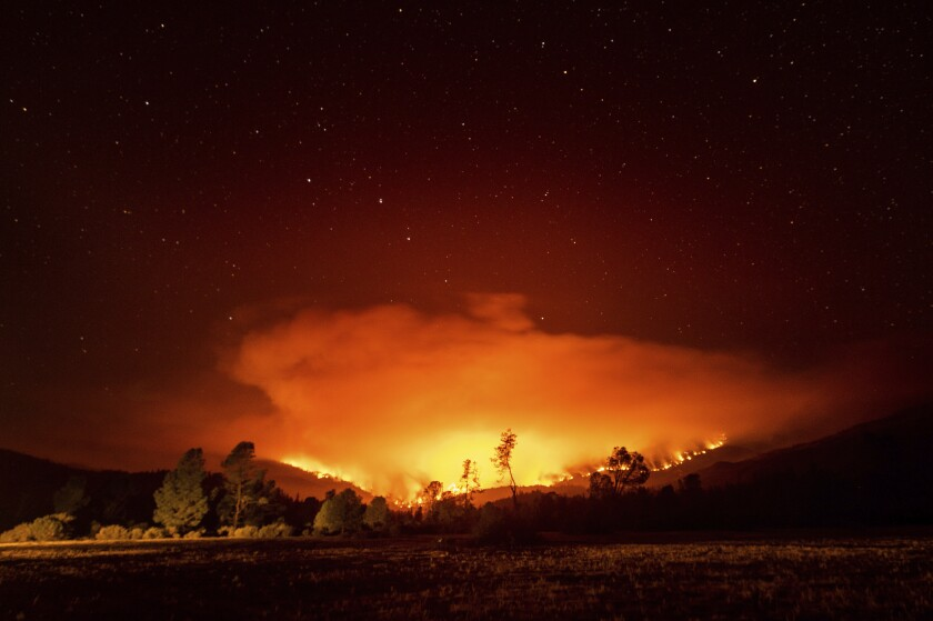 The August Complex fire burns near Lake Pillsbury in the Mendocino National Forest