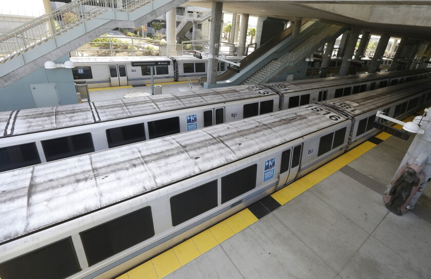 BART trains are parked at the station in Millbrae. A strike idled trains in July.