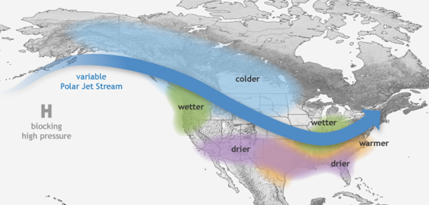 A NOAA map shows the predicted weather pattern known as La Niña.