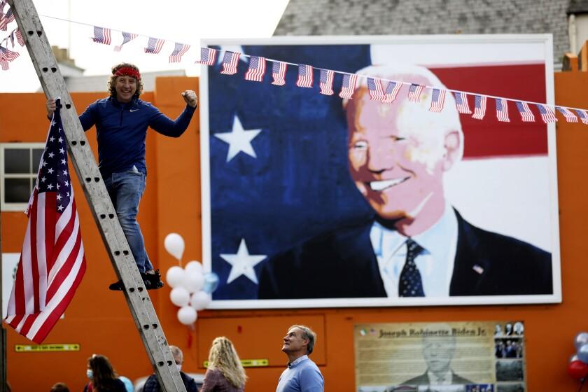 A mural depicts President-elect Joe Biden in his ancestral home of Ballina, Ireland.