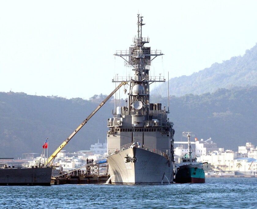 A Taiwanese naval guided-missile destroyer at the island's Kaohsiung Harbor.