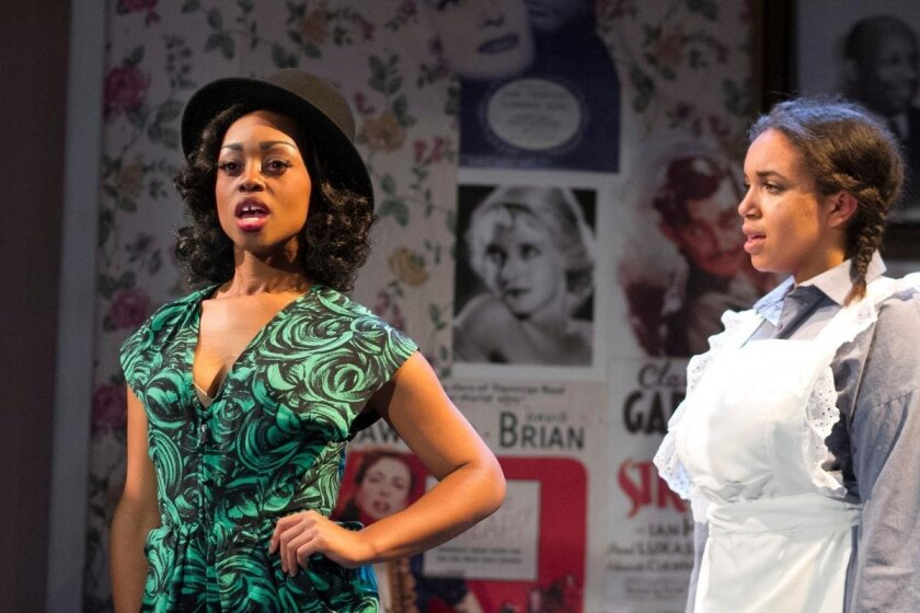 """Cashae Monya (left) and Jada Temple in Moxie Theatre's """"Crumbs From the Table of Joy."""""""