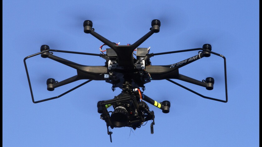 """An Aerial MOB drone is used to shoot a scene on the set of """"Criminal Minds: Beyond Borders"""" in Santa Clarita."""