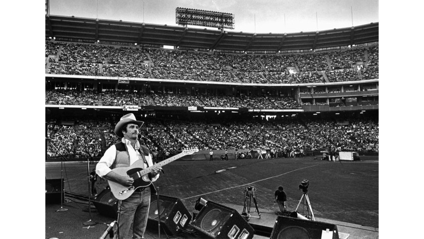 Oct. 26, 1980: Merle Haggard performs before 30,000 fans at Anaheim Stadium.