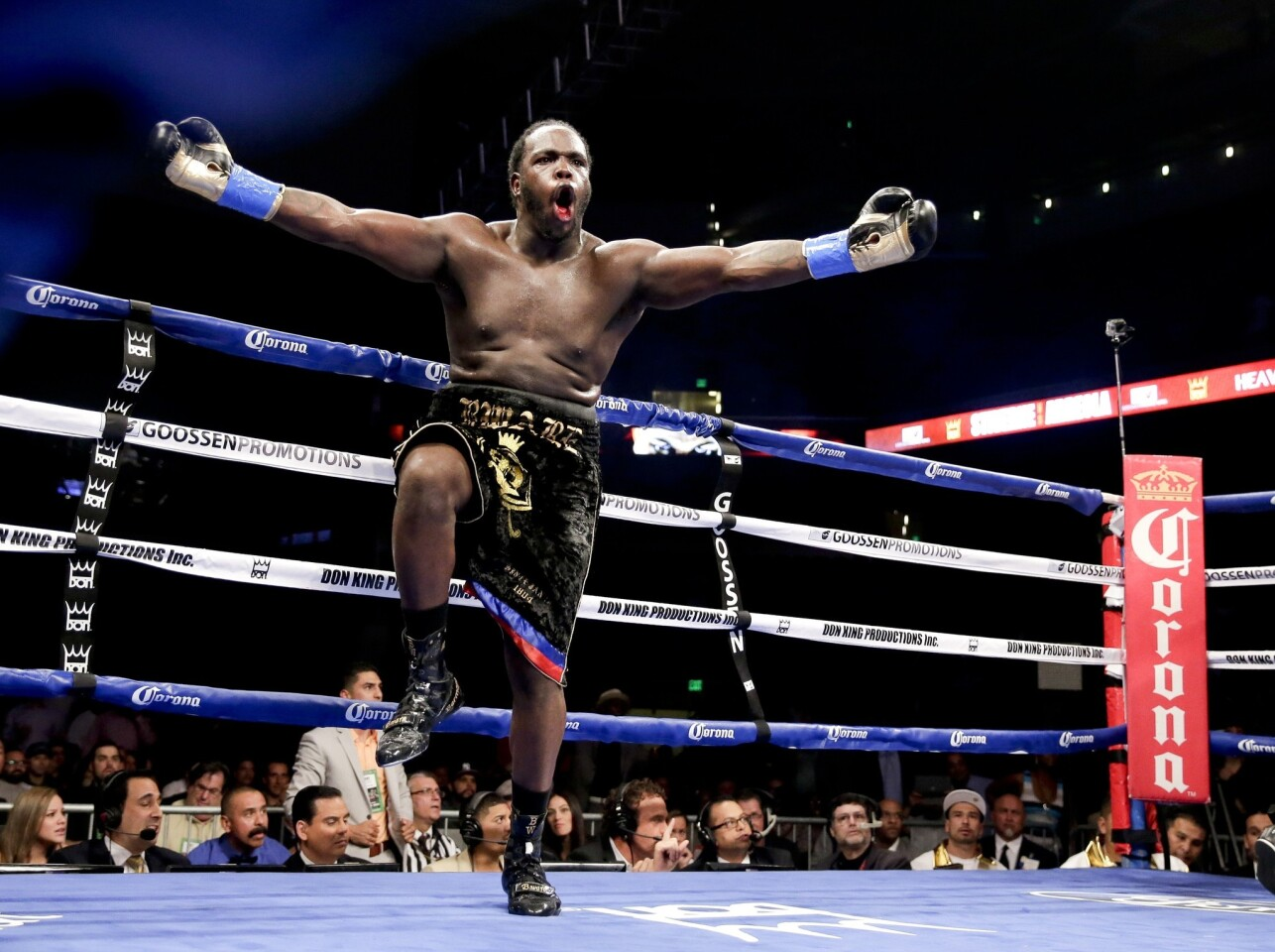 Bermane Stiverne enjoys the moment after winning the WBC heavyweight belt by stopping Chris Arreola in the sixth round Saturday at Galen Center.