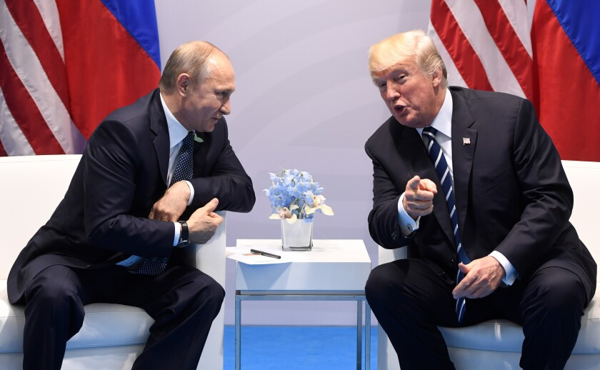 President Trump and Russian President Vladimir Putin hold a meeting July 7 on the sidelines of the G-20 summit in Hamburg, Germany.