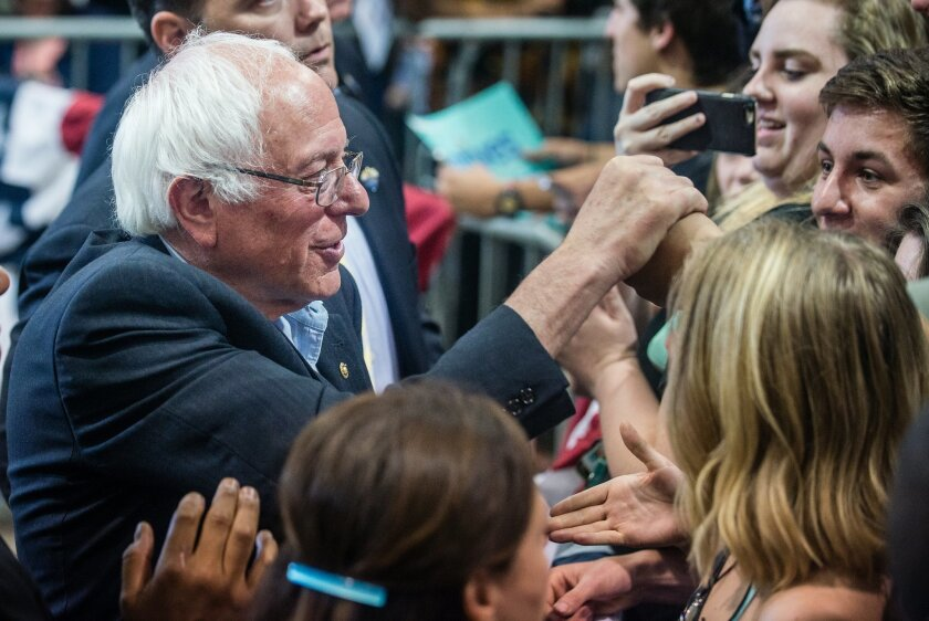 Democratic presidential candidate Bernie Sanders, left, greets supporters after making a speech Friday, May 20. 2016, in Albuquerque, N.M. (Roberto E. Rosales/The Albuquerque Journal via AP) MANDATORY CREDIT