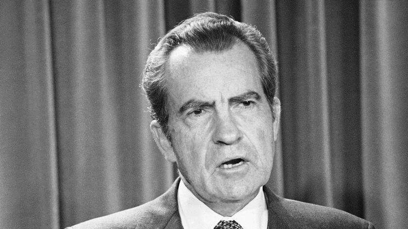 FILE - In this April 17, 1973 file photo, President Richard Nixon speaks during White House news bri