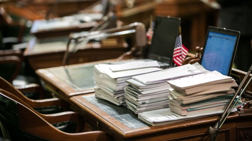 SACRAMENTO, CALIF. -- SATURDAY, SEPTEMBER 12, 2015: All that is left on the last day of legislative