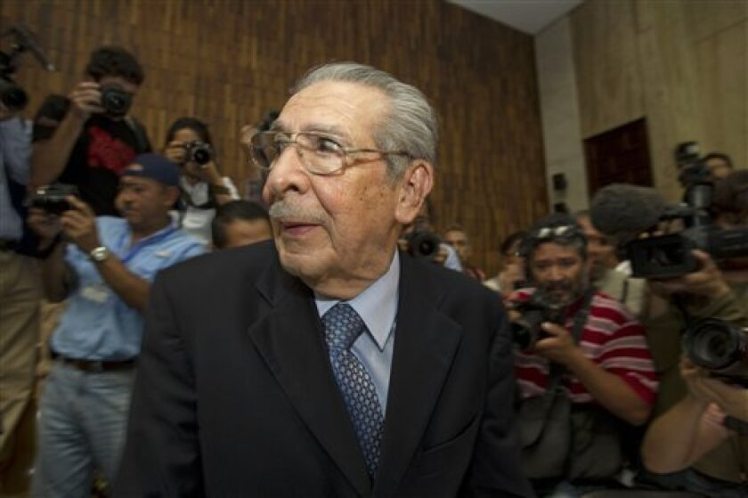 Guatemala's former dictator Jose Efrain Rios Montt stands in court before the judge enters to announce the verdict for his genocide trial in Guatemala City, Friday, May 10, 2013. The court convicted Rios Montt on charges of genocide and crimes against humanity, sentencing him to 80 years in prison. The 86-year-old former general is the first former Latin American leader ever found guilty of such a charge. The war between the government and leftist rebels cost more than 200,000 lives and ended in