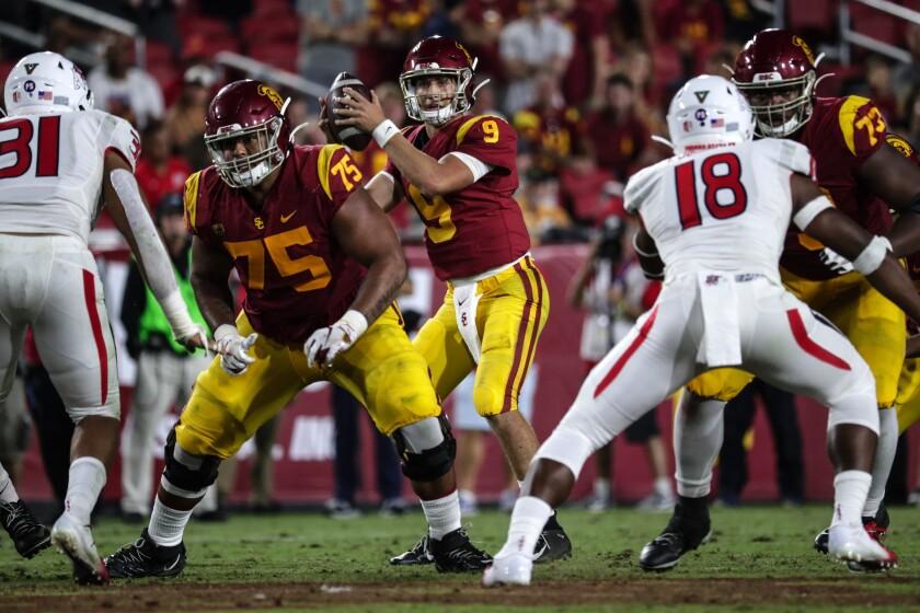 Quarterback Kedon Slovis and USC face rival UCLA on Saturday.